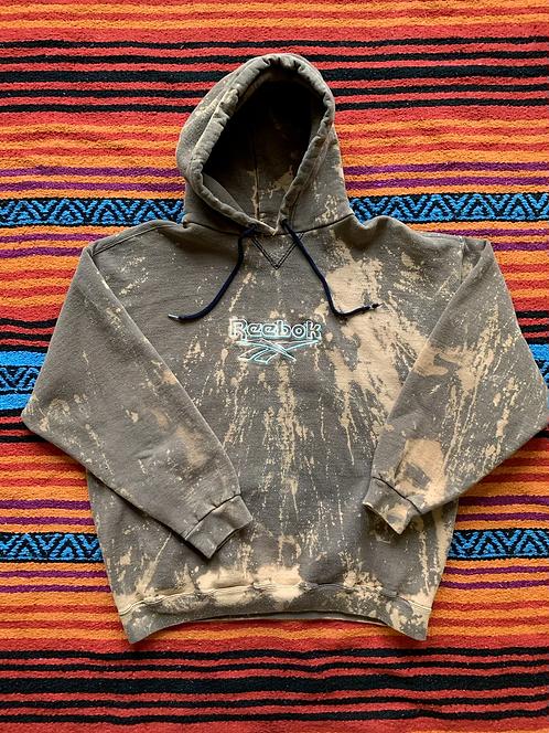 Vintage Reebok faded bleach tie-dye hoodie size medium