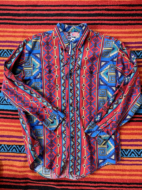 Vintage colorful patterned button down shirt size large/XL