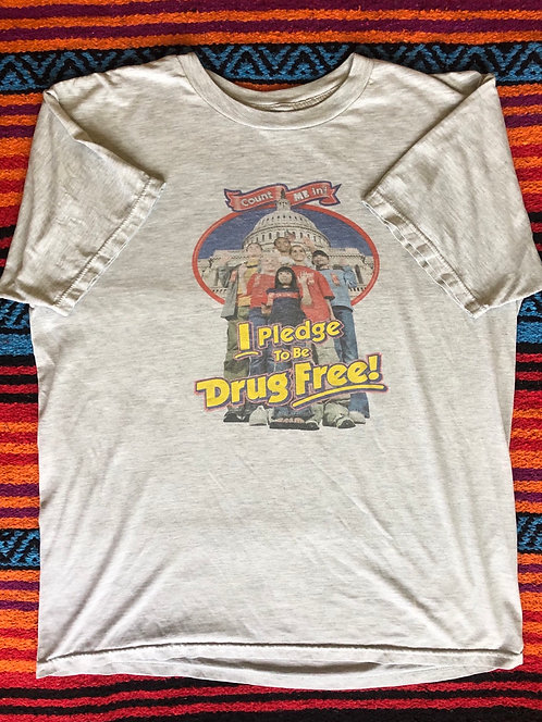 Vintage Heather Gray Drug Free T Shirt Size Large