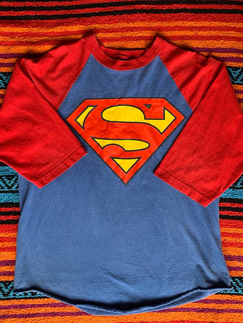 Vintage Superman Baseball T shirt size Large