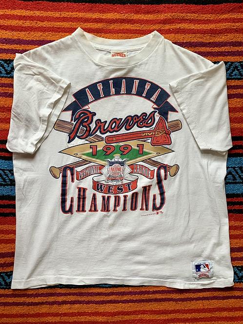 Vintage Atlanta Braves 1991 National West League Champions size medium