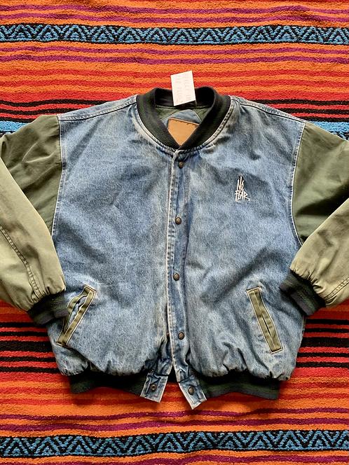 Vintage No Fear denim varsity jacket size large