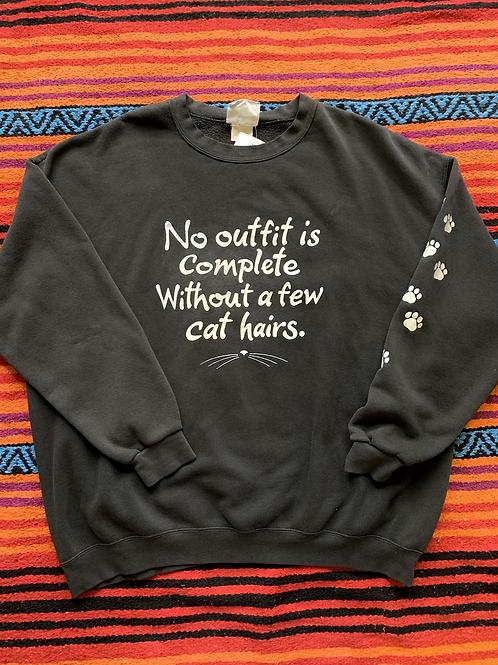 Vintage funny cat paw print sweatshirt size XXL
