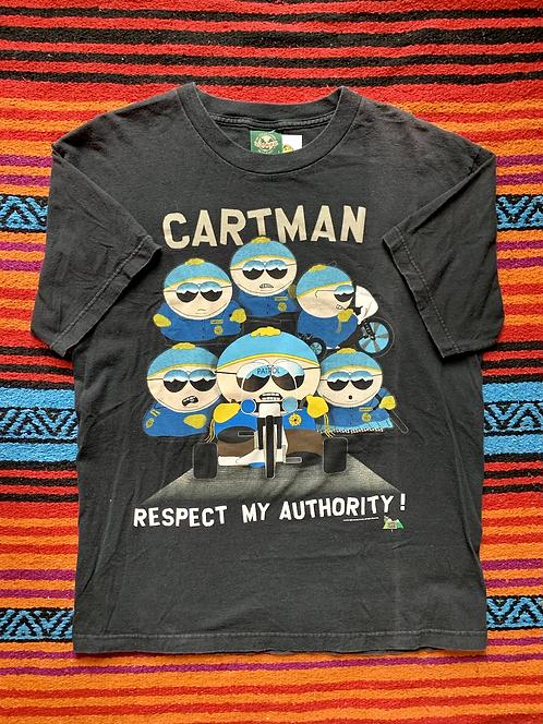 """Vintage South Park Cartman """"Respect my Authority"""" black t-shirt size large"""