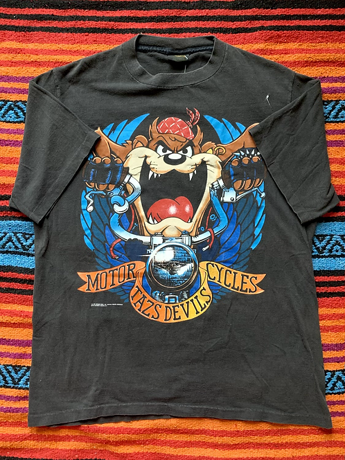 Vintage 1990 Looney Tunes Taz's Devils Motorcycles faded black t-shirt size XL