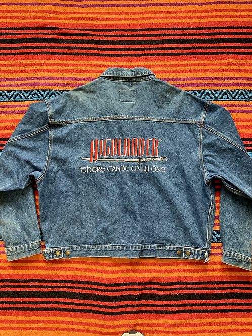 Vintage 80s Highlander embroidered denim jacket size XXL