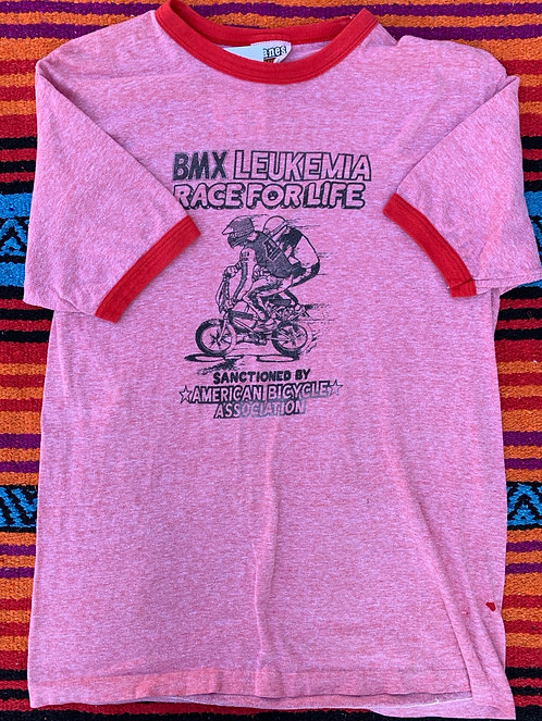 Vintage BMX Race for Life Ringer T shirt size Large