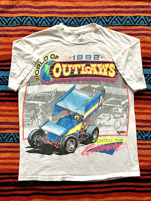 Vintage 1992 World of Outlaws all-over print t-shirt size large