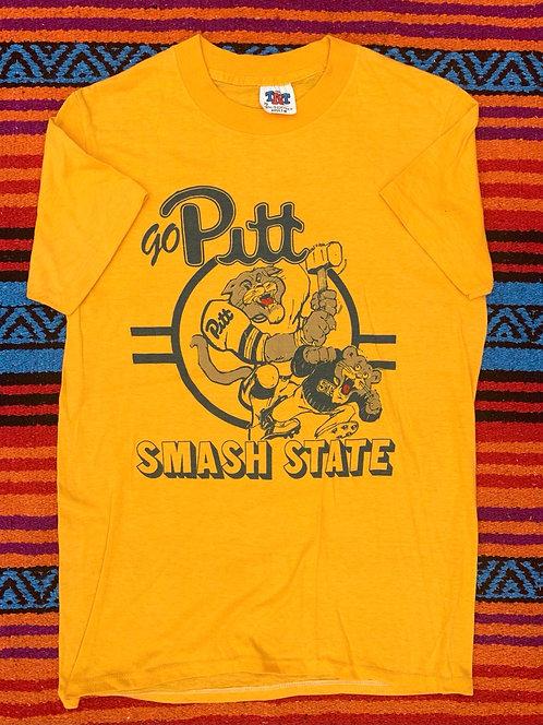 Vintage University of Pittsburg Panthers T shirt size Small - Yellow