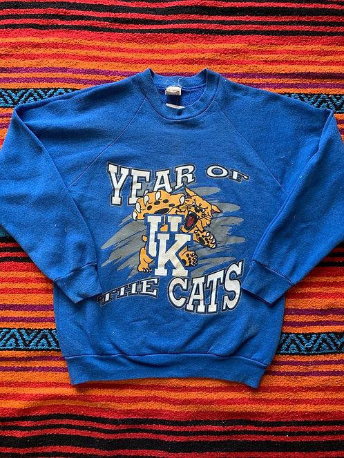 "Vintage University of Kentucky ""Year of the Cats"" blue sweatshirt size large"