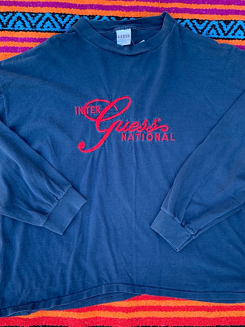 Vintage navy Guess International long sleeve T shirt size XL