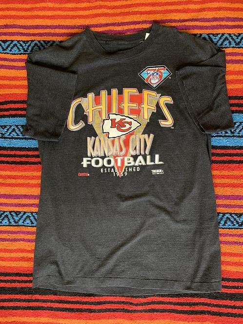 Vintage Kansas City Chiefs Football striped t-shirt size large
