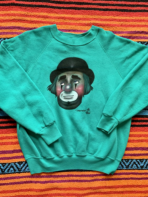 Vintage clown turquoise sweatshirt size large/XL