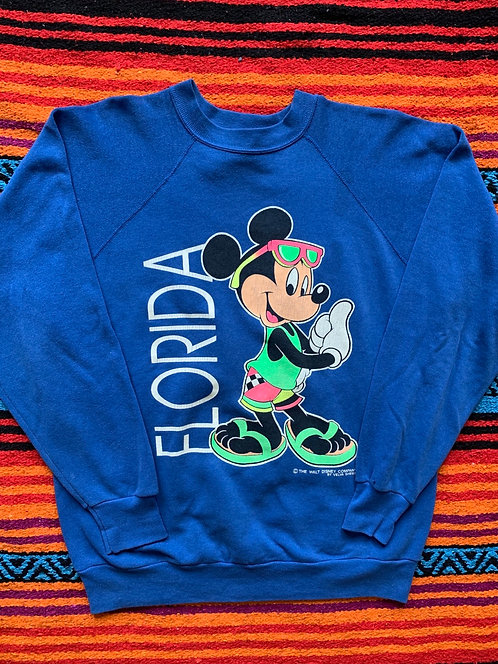 Vintage Mickey Mouse Disney blue crew neck sweatshirt size Large
