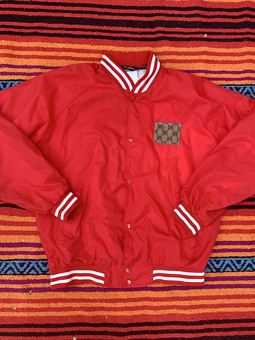 Vintage reworked  red bomber jacket with Gucci patch size large