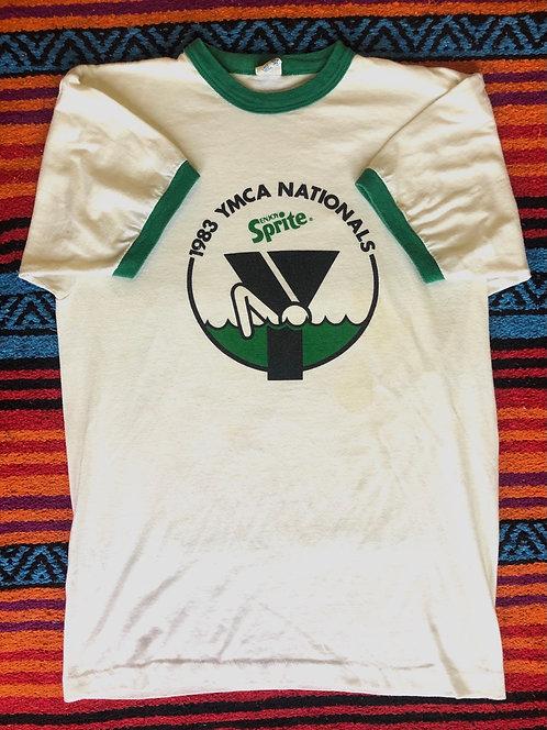 Vintage 1983 YMCA Nationals Sprite Ringer T Shirt Size Large