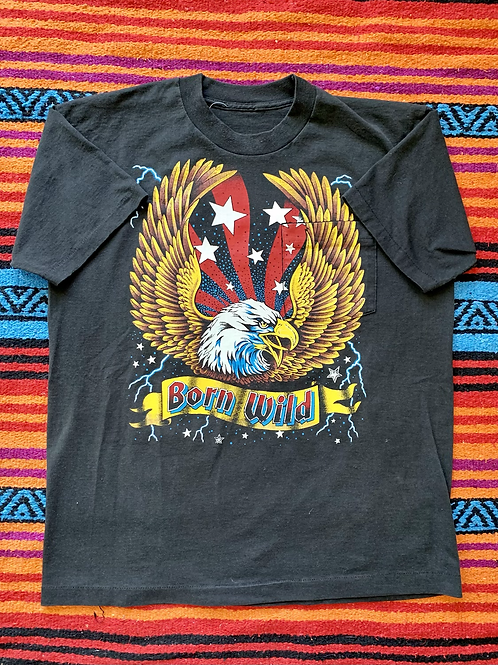 """Vintage American Bald Eagle """"Born Wild"""" black t-shirt with side pocket size larg"""