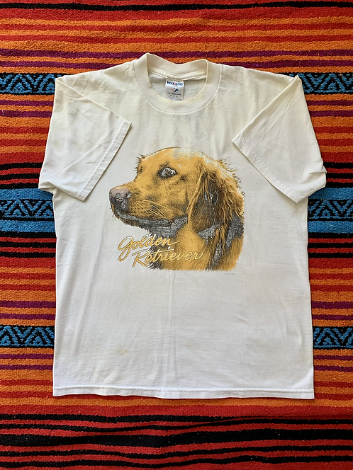 Vintage Golden Retriever dog white t-shirt size medium