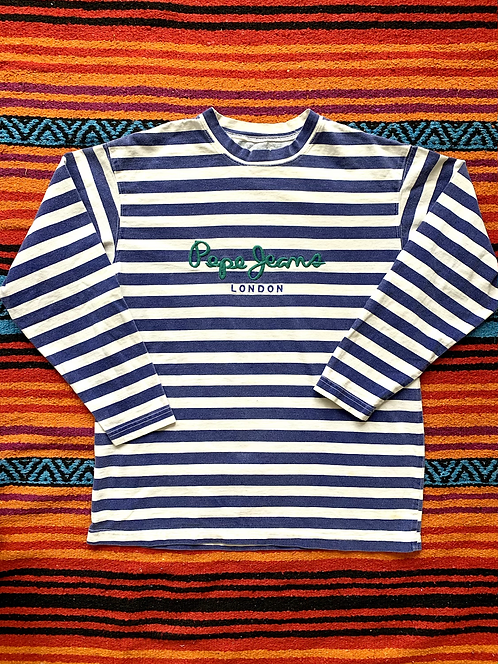 Vintage 90s Pepe Jeans London striped long sleeve t-shirt size small