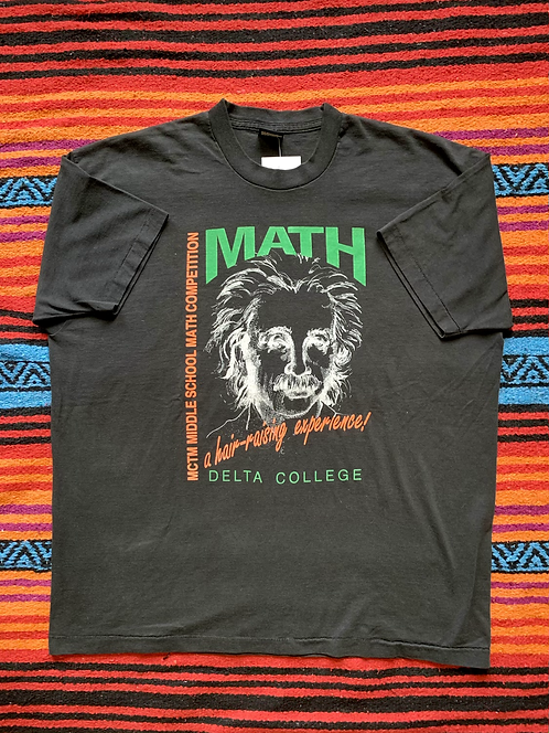 Vintage Einstein Math Competition faded black t-shirt size XXL