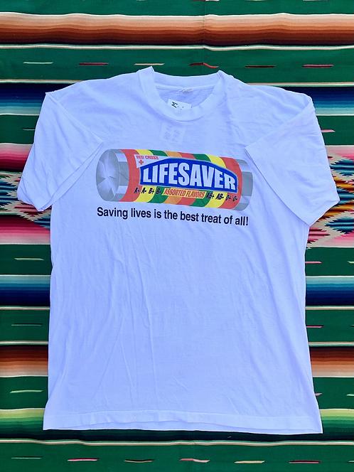 Vintage Lifesavers candy white t-shirt size XL
