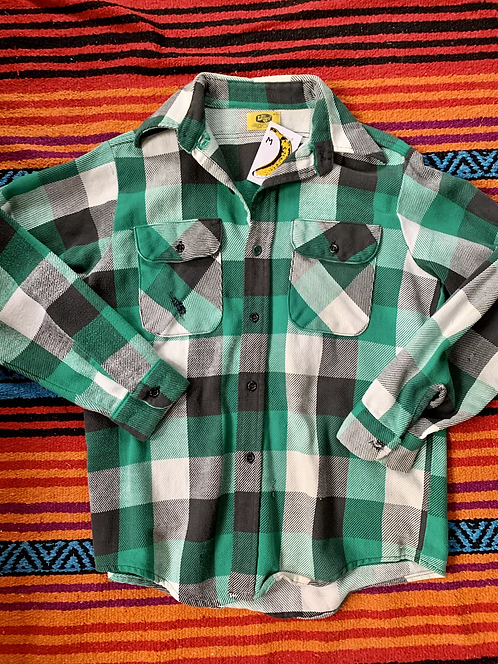 Vintage green and gray button down flannel size medium