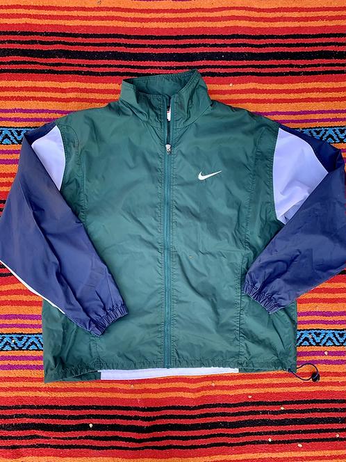 Vintage Nike green color block windbreaker jacket size large