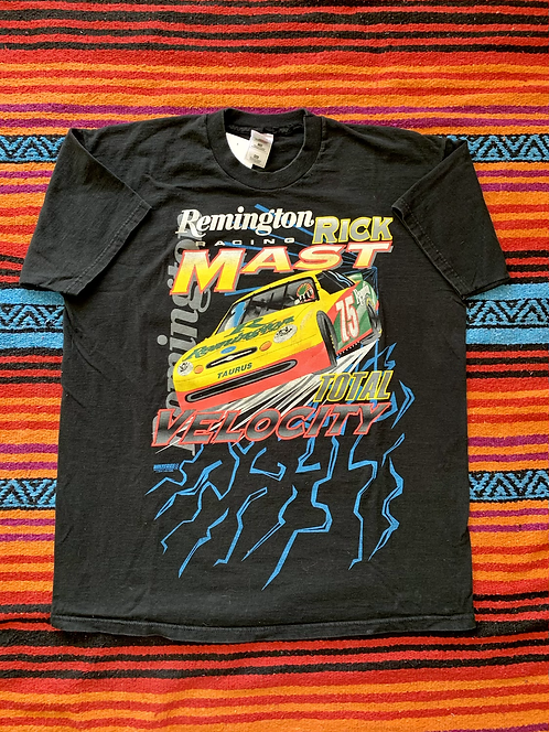 "Vintage Remington Racing NASCAR Rick Mast ""Total Velocity"" black t-shirt size XX"