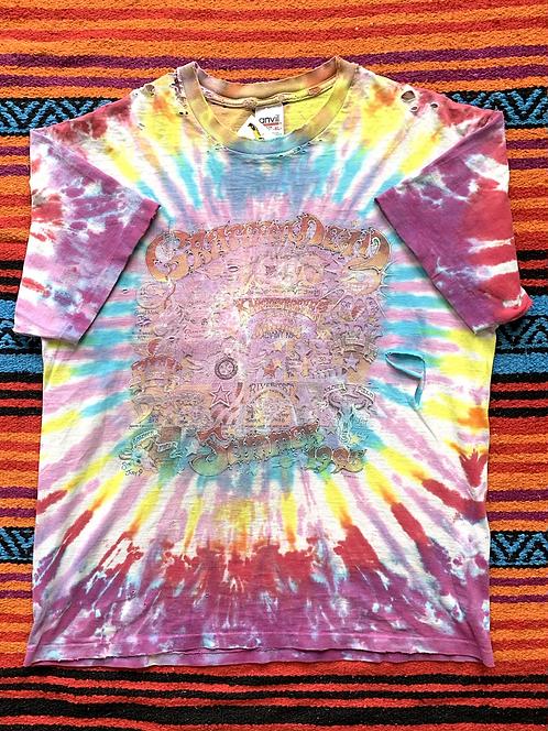 Vintage 1995 Grateful Dead Summer Tour faded tie-dye t-shirt size XL