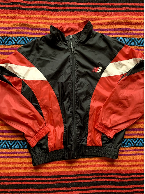 Vintage New Balance red and black color block windbreaker jacket size medium