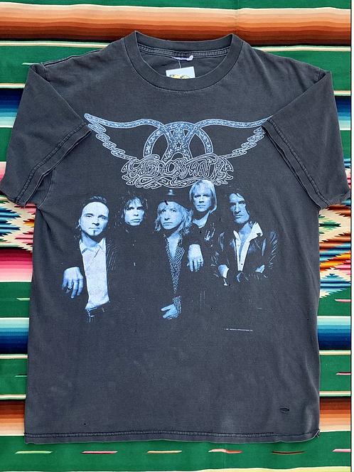 Vintage 1997 Aerosmith Nine Lives World Tour black faded t-shirt size large