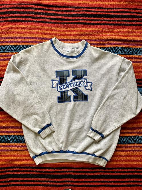 Vintage University of Kentucky plaid logo gray sweatshirt size XL