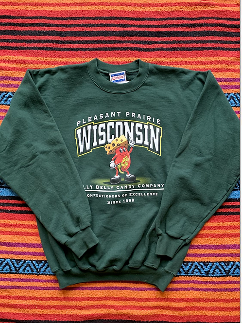 Vintage Pleasant Prairie Wisconsin Jelly Belly Candy Company green sweatshirt si