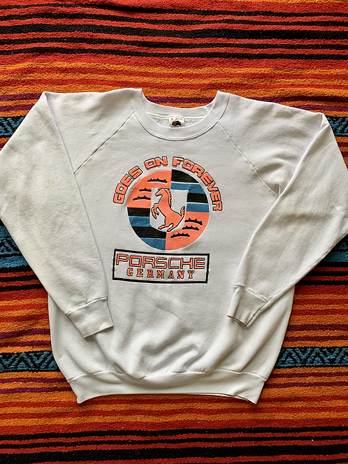 "Vintage Porsche Germany ""Goes On Forever"" white sweatshirt size XL"