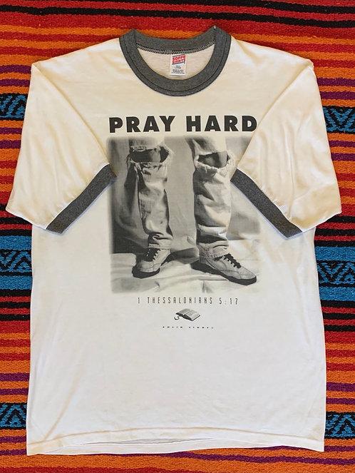Vintage Pray Hard Ringer T Shirt Size Large