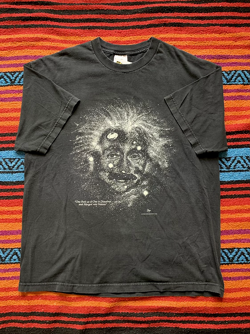 Vintage 1993 Albert Einstein quote faded black t-shirt size XL