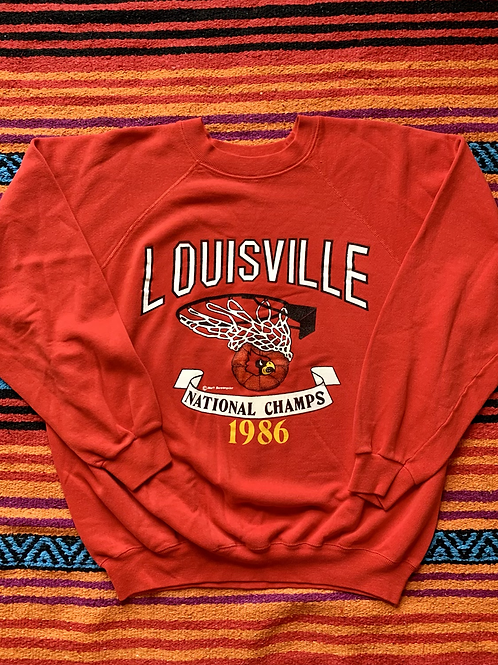 Vintage University of Louisville Basketball National Champs 1986 red sweatshirt