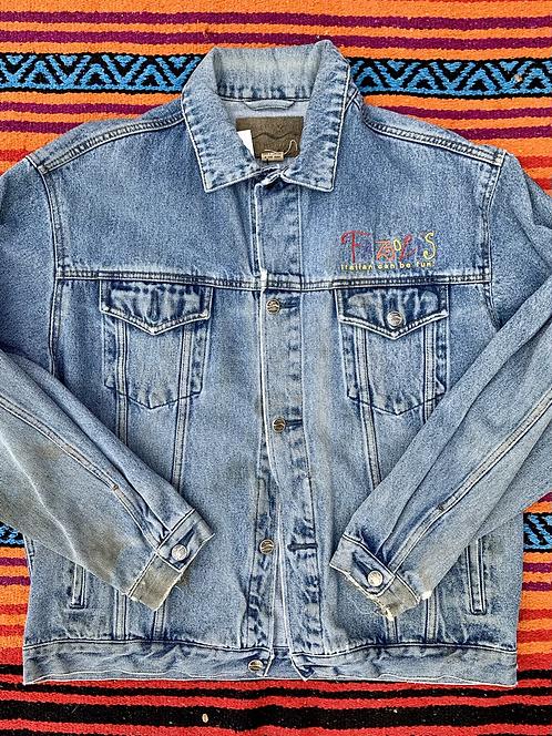 Vintage light wash Fazoli's denim jacket size Large