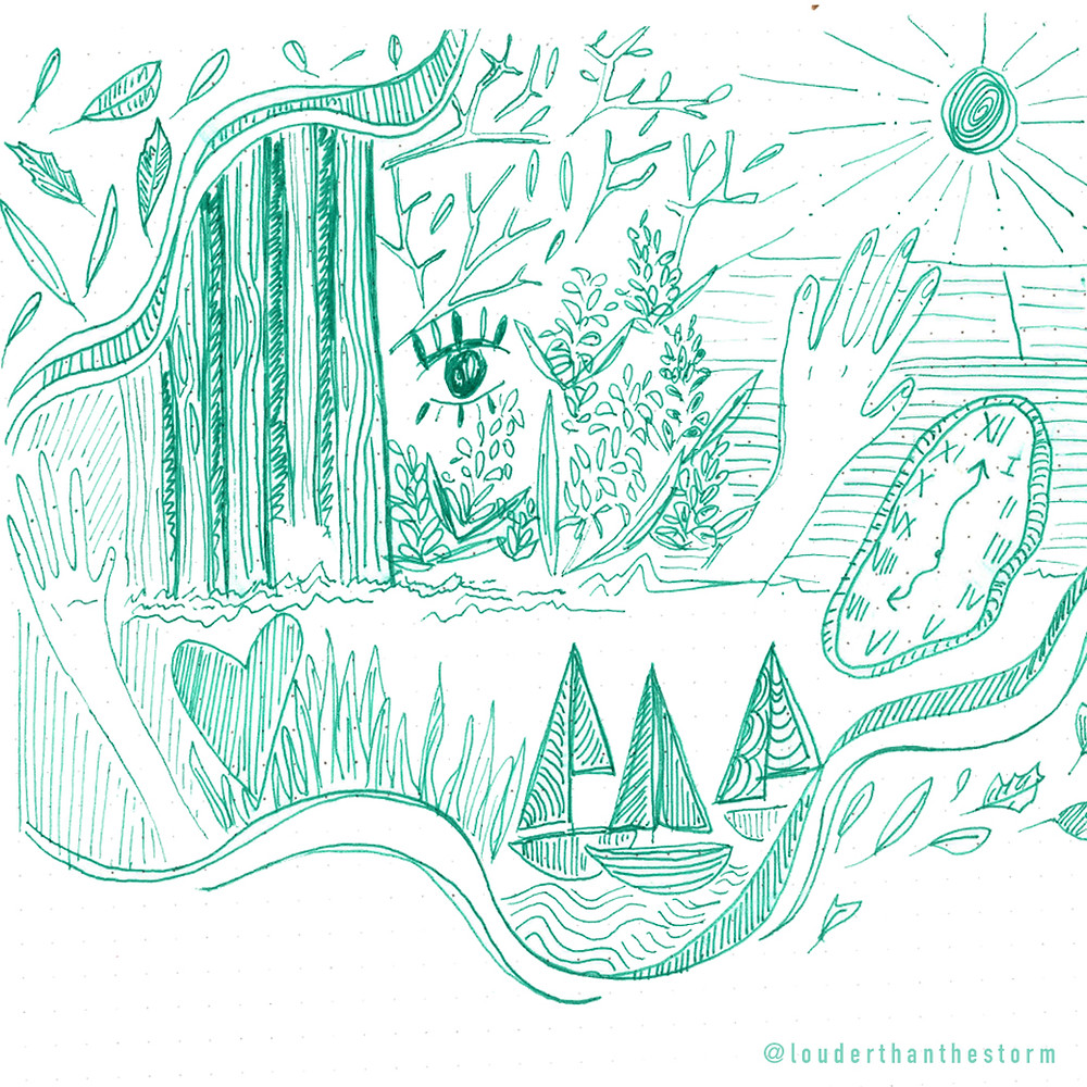 A green line-drawing of various abstract images, clocks, hands and sailboats, surrounded by natural leaves and tree trunks