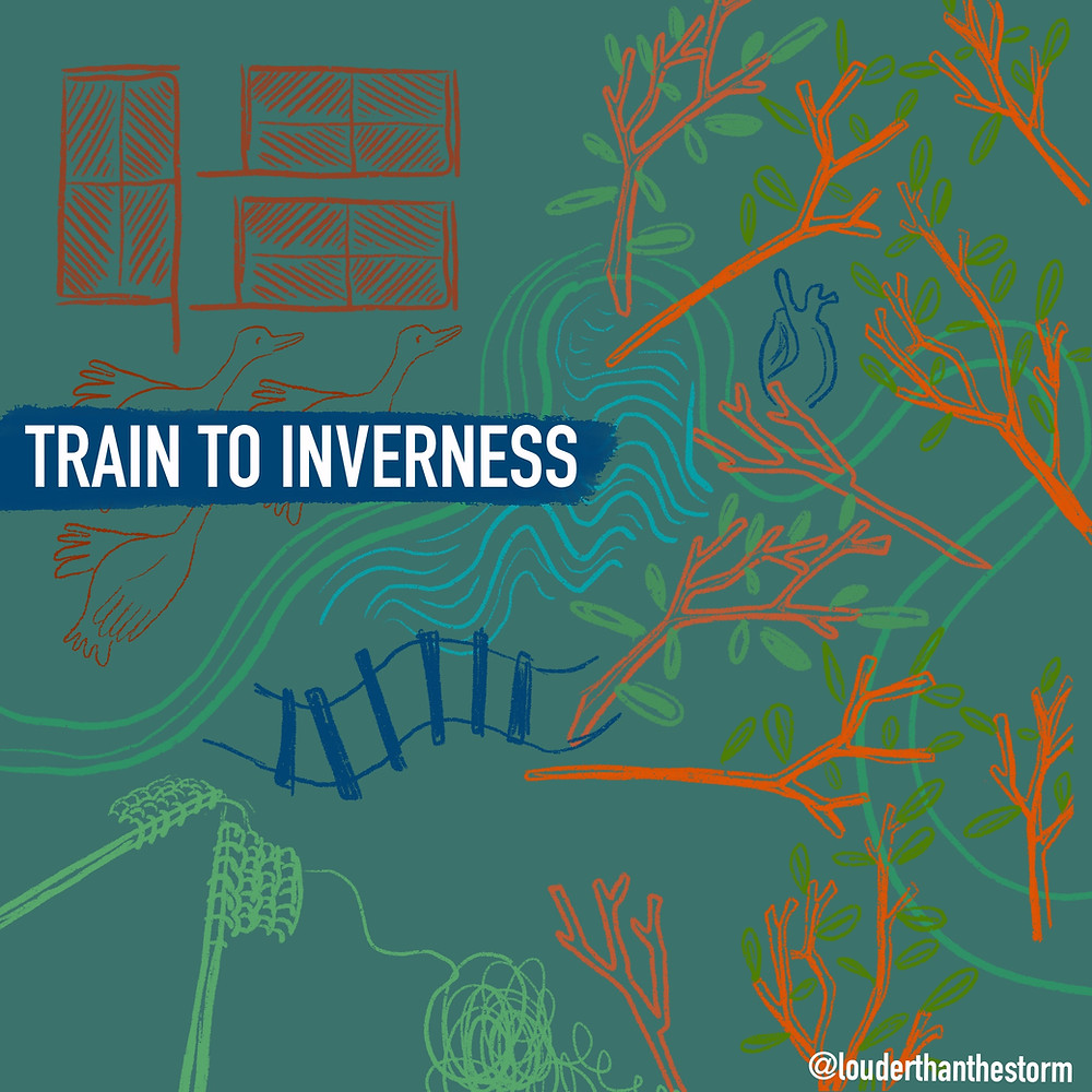 Dark green background with orange, blue, and green lien drawings depicting birds, tree branches, water and train tracks