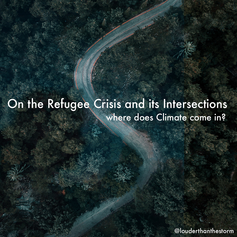 A road winding through a forest with the title 'on the refugee crisis'