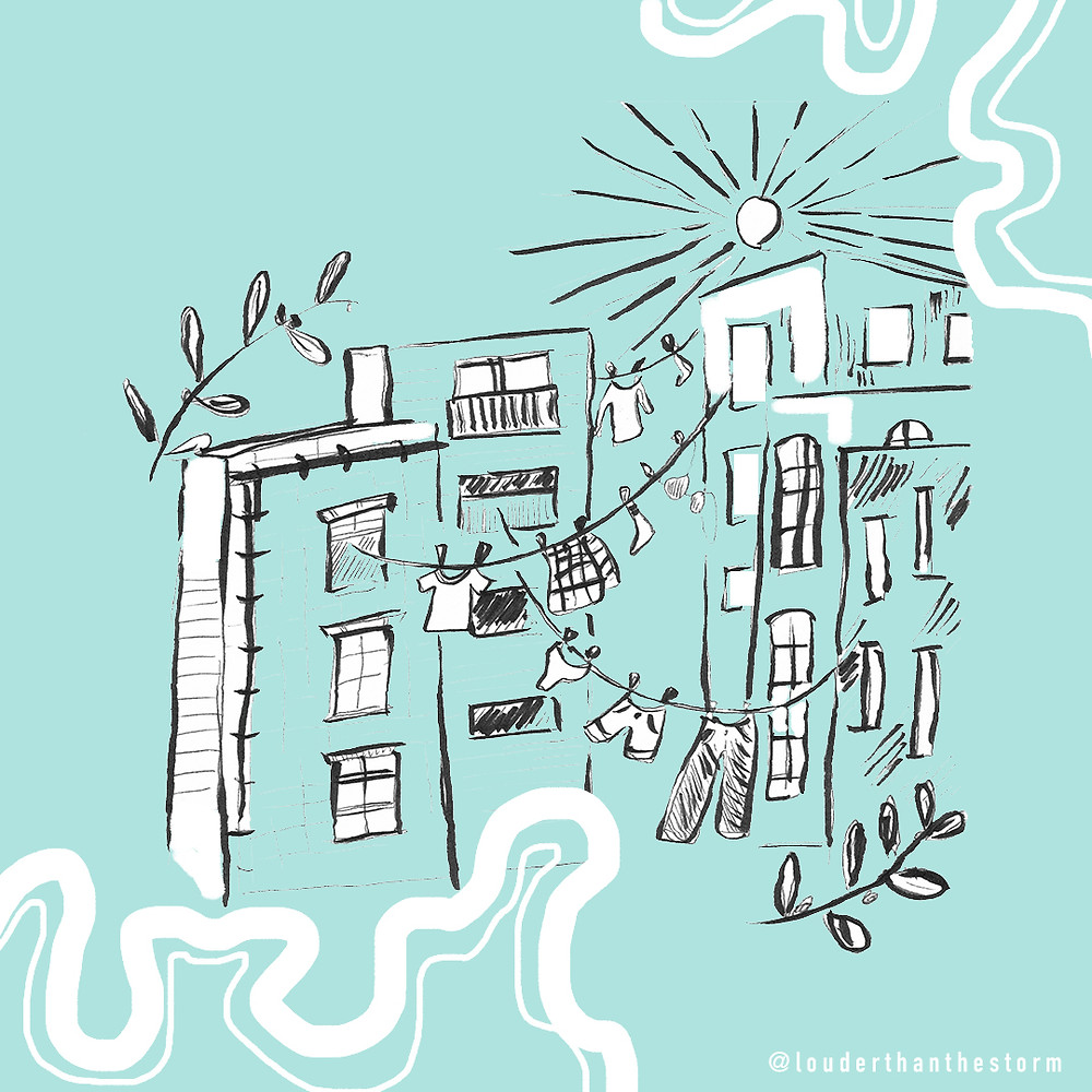 Sketches of apartment blocks and washing lines on a teal background