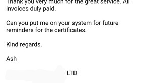 Nice to receive positive feedback from a new customer.
