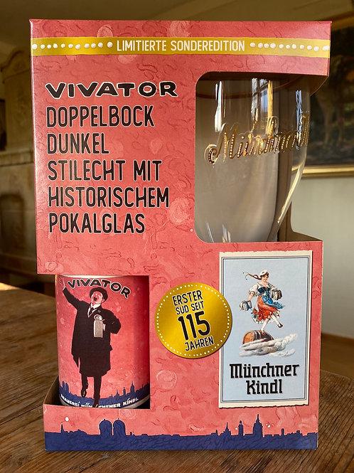 Münchner Kindl Vivator mit stilechtem Pokalglas - Gratis Lieferung