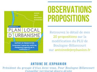 Observations et 20 propositions sur la modification du PLU de Boulogne-Billancourt