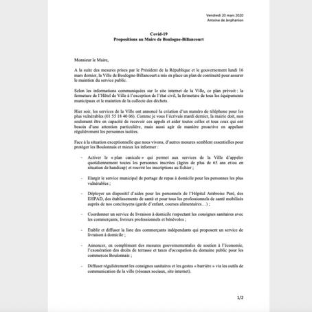 Covid-19 : Propositions au Maire de Boulogne-Billancourt