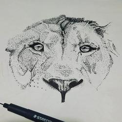 Pointillism Lion