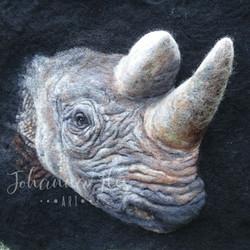 Needle Felted Black Rhino