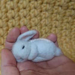 Needle Felted Sleeping Baby Rabbit