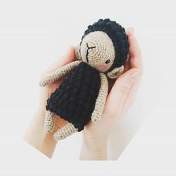 Crochet black and brown lamb